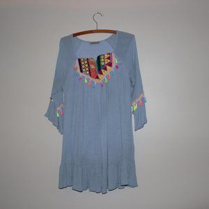 Anandas Collection BOHO Blue Embroidery Shirt M